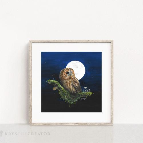 Tawny Owl Painting Art Print