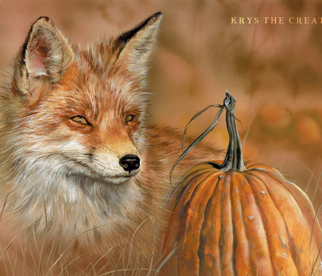 Red Fox Gouache Painting by Wildlife Artist Krysten Newby titled 'Pumpkin Patch' 2019
