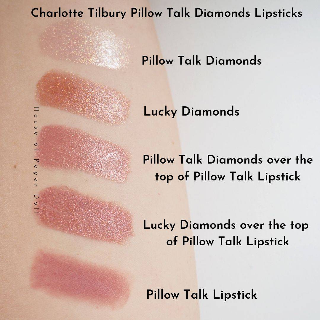 Charlotte Tilbury Pillow Talk Diamonds Lipsticks Swatches, Review and Comparisons
