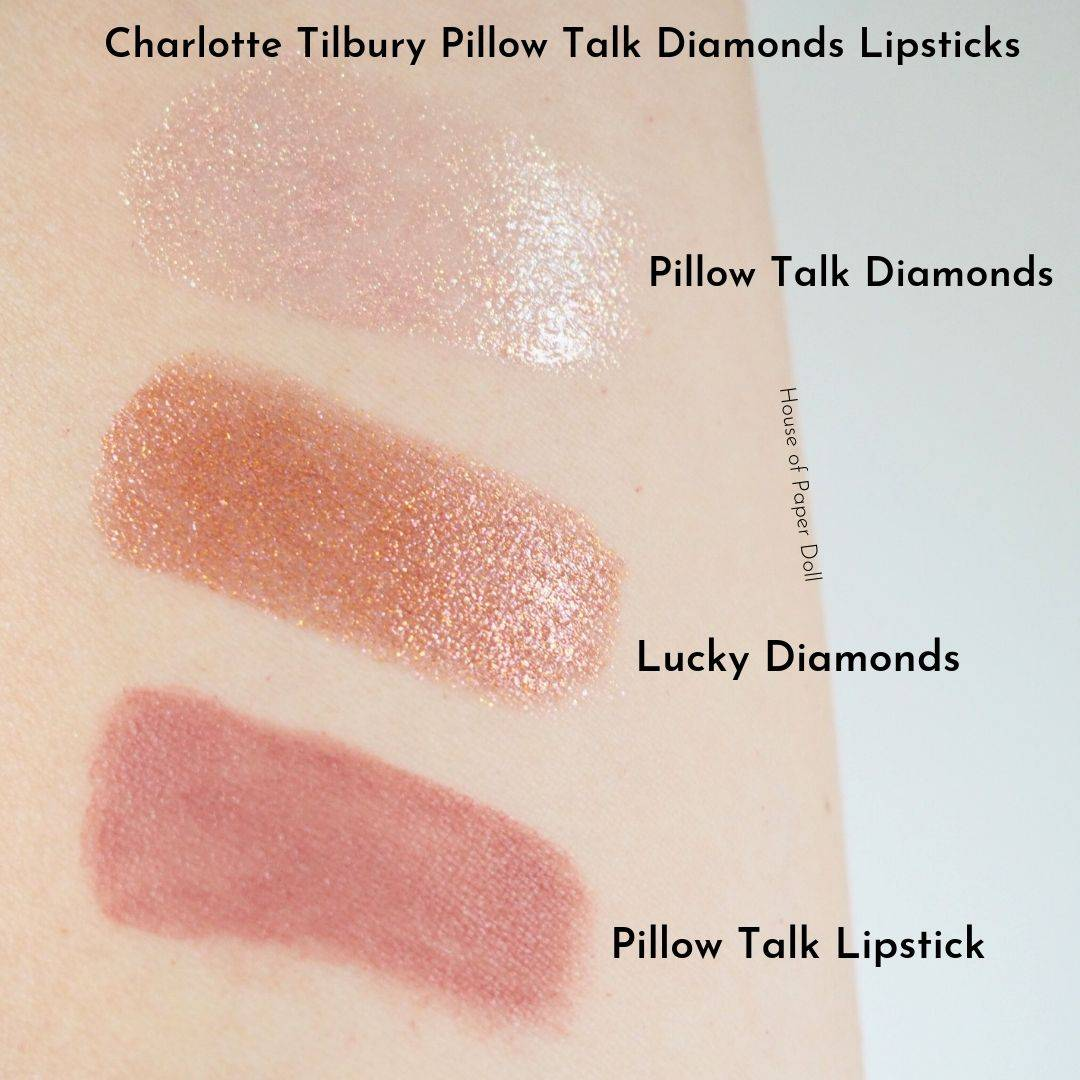 Charlotte Tilbury Pillow Talk Diamonds Lipsticks Swatches and Comparisons