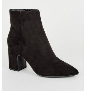 New Look Black Suede Pointed Block Heel Ankle Boots