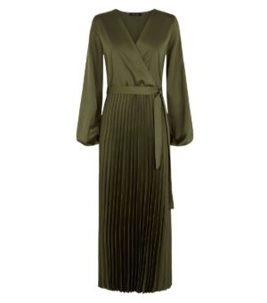 New Look Green Wrap Pleated Dress