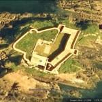 Google Earth image of Thorne Island Fort. Note ship wreck on E coast.