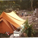 Camping outside The Anchorage. This photo was taken many years ago when The Anchorage was being built.