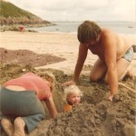 Dad and Pete and a young Joanne on Watwick Sands