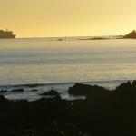 Irish ferry leaving waterway