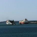 Irish ferry passing tanker