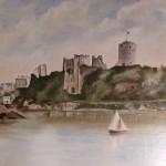 Pembroke Castle before restoration painting, courtesy of Mr. Michael Webb