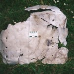 A torn aluminium plate measuring 75 by 67 cm and 2mm thick. Remnants of a carbon coating can be seen. Scale in cm and inches.