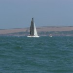 A very fast moving trimaran off Sandy Haven.