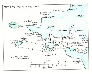 Map of the Dale Peninsula and its islands showing the track of the day sail