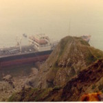 Bow section of Donna Marika on rocks