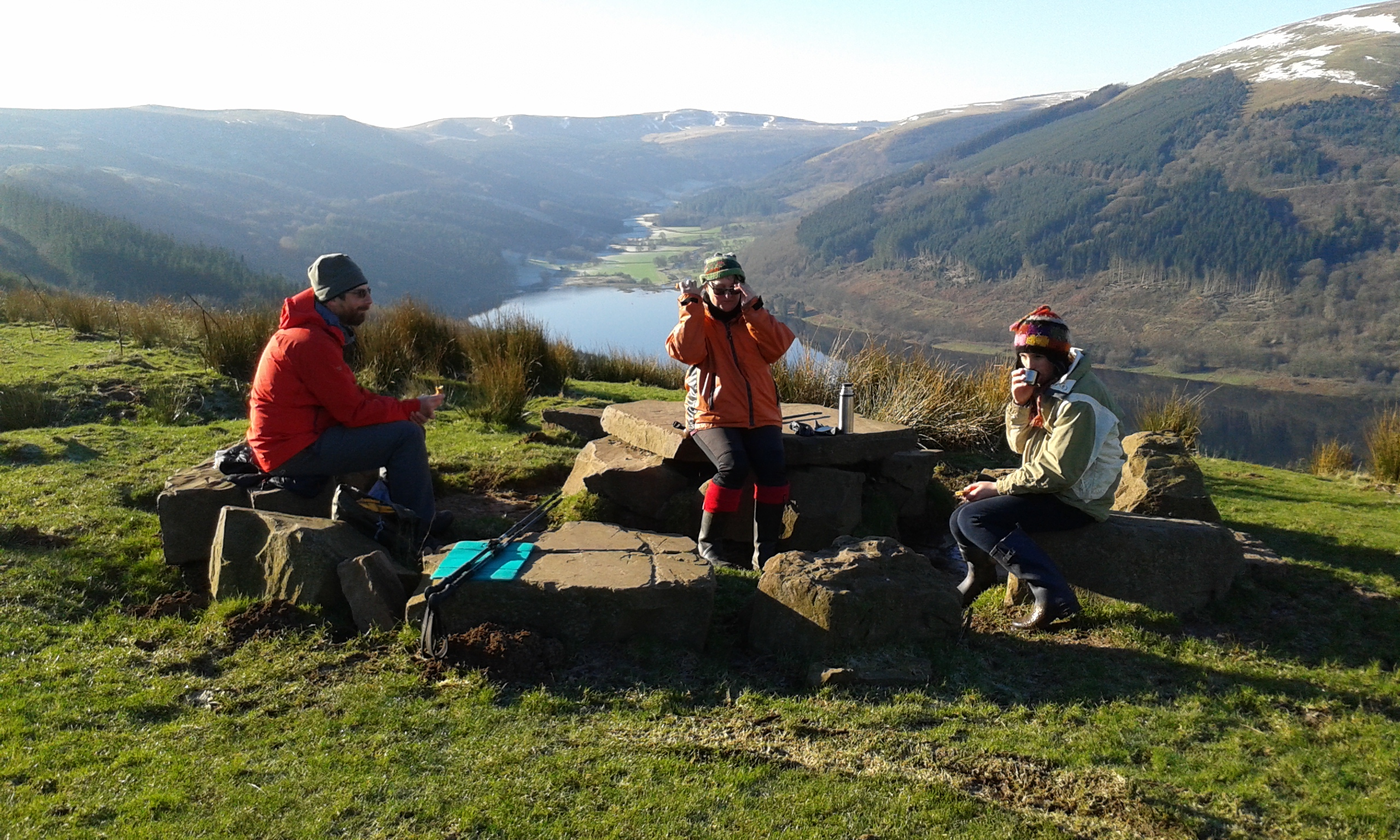 Winter picnic above Talybont reservoir.
