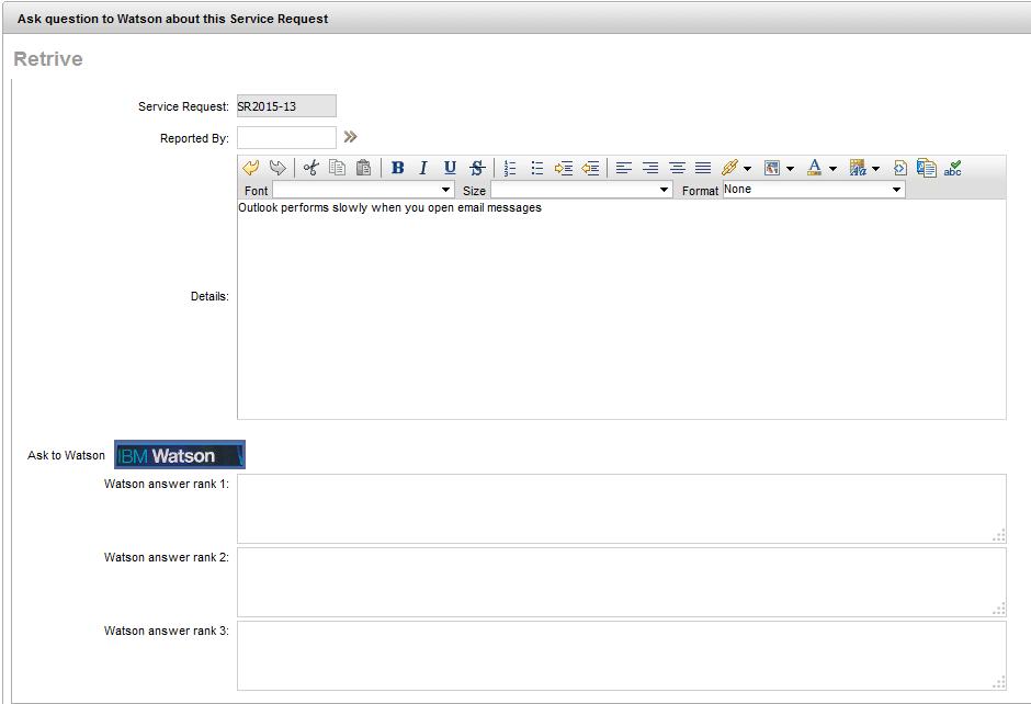 IBM Maximo Service Request application custom for IBM Watson