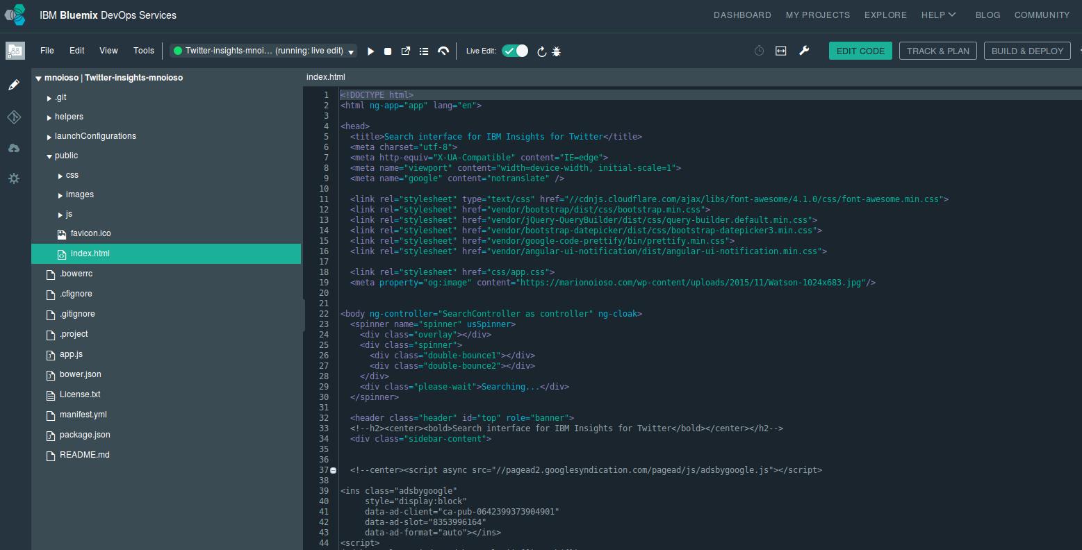 My IBM Bluemix DevOps Services