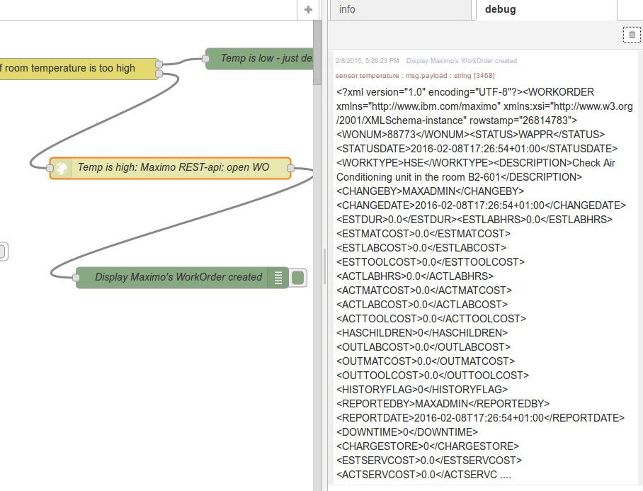 Maximo WO debug data on node-RED panel