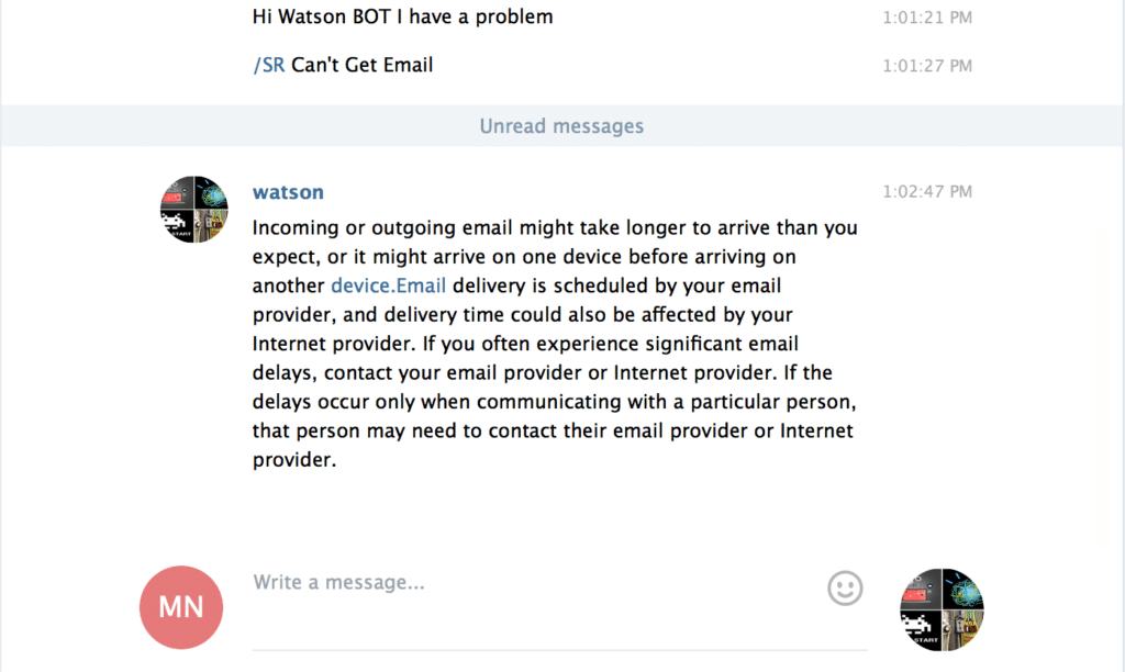 Watson handles a service request on a telegram chat with the Retrieve and Rank Service