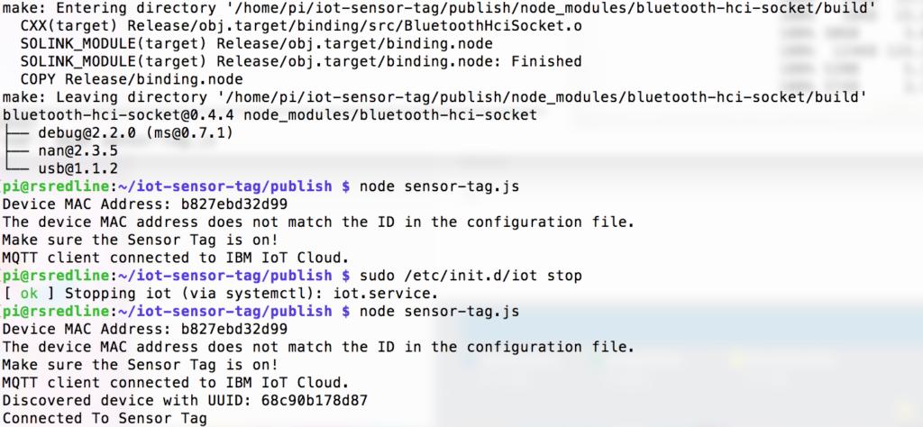 Raspberry Pi as IoT gateway for Sensor Tag