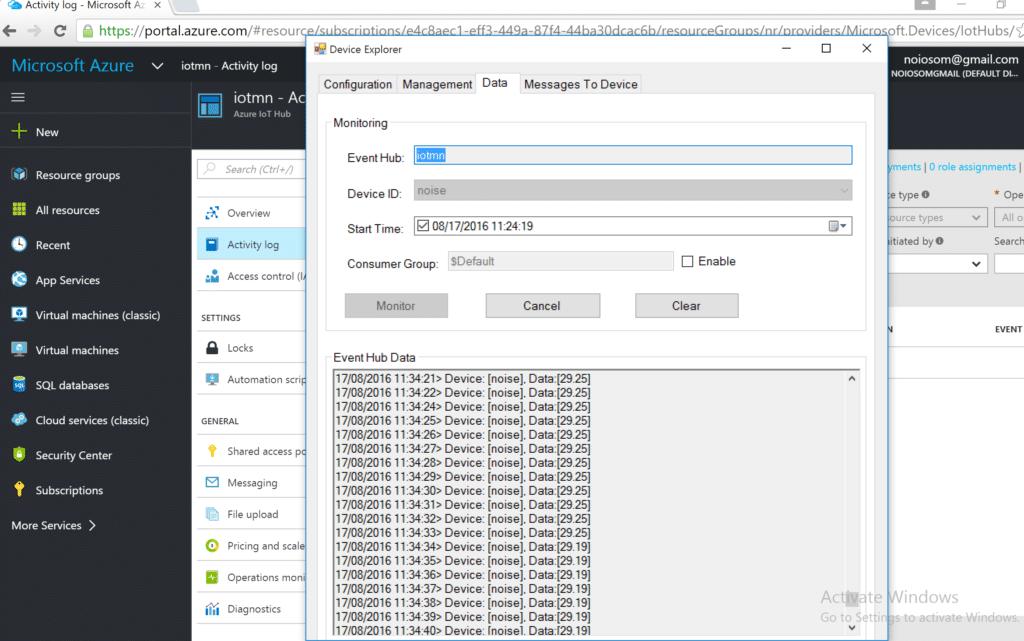 Azure IoT Hub and device explorer