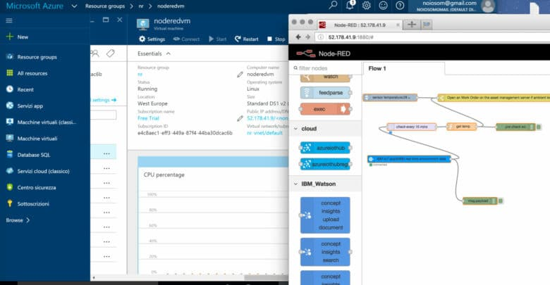 node-RED flows for Microsoft Azure