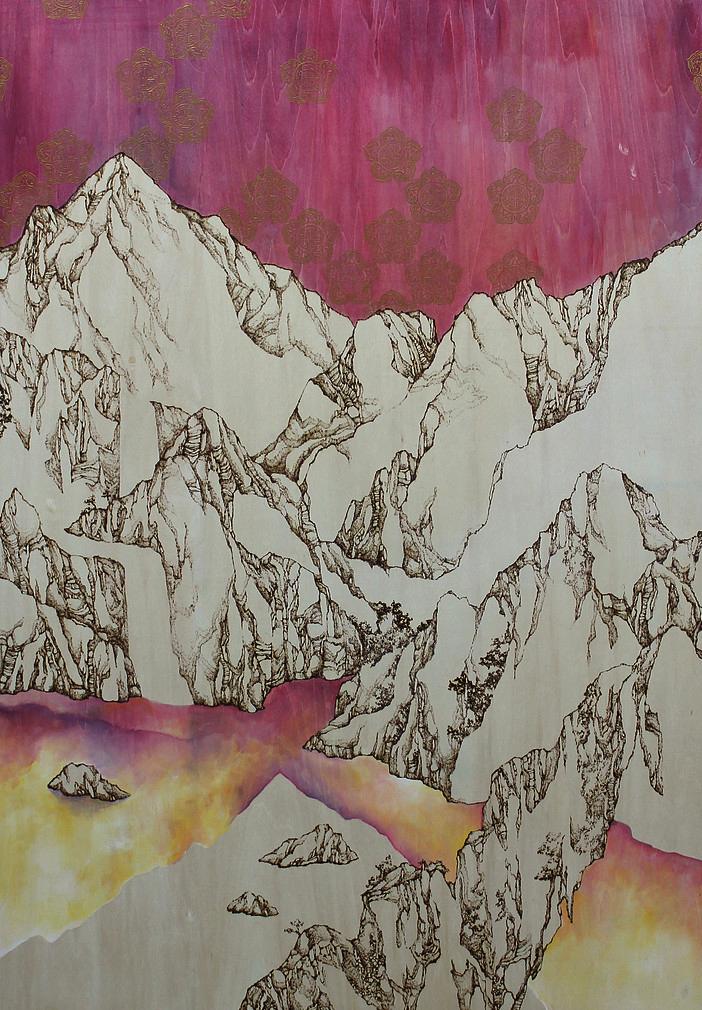 Pyrography mixed media paint
