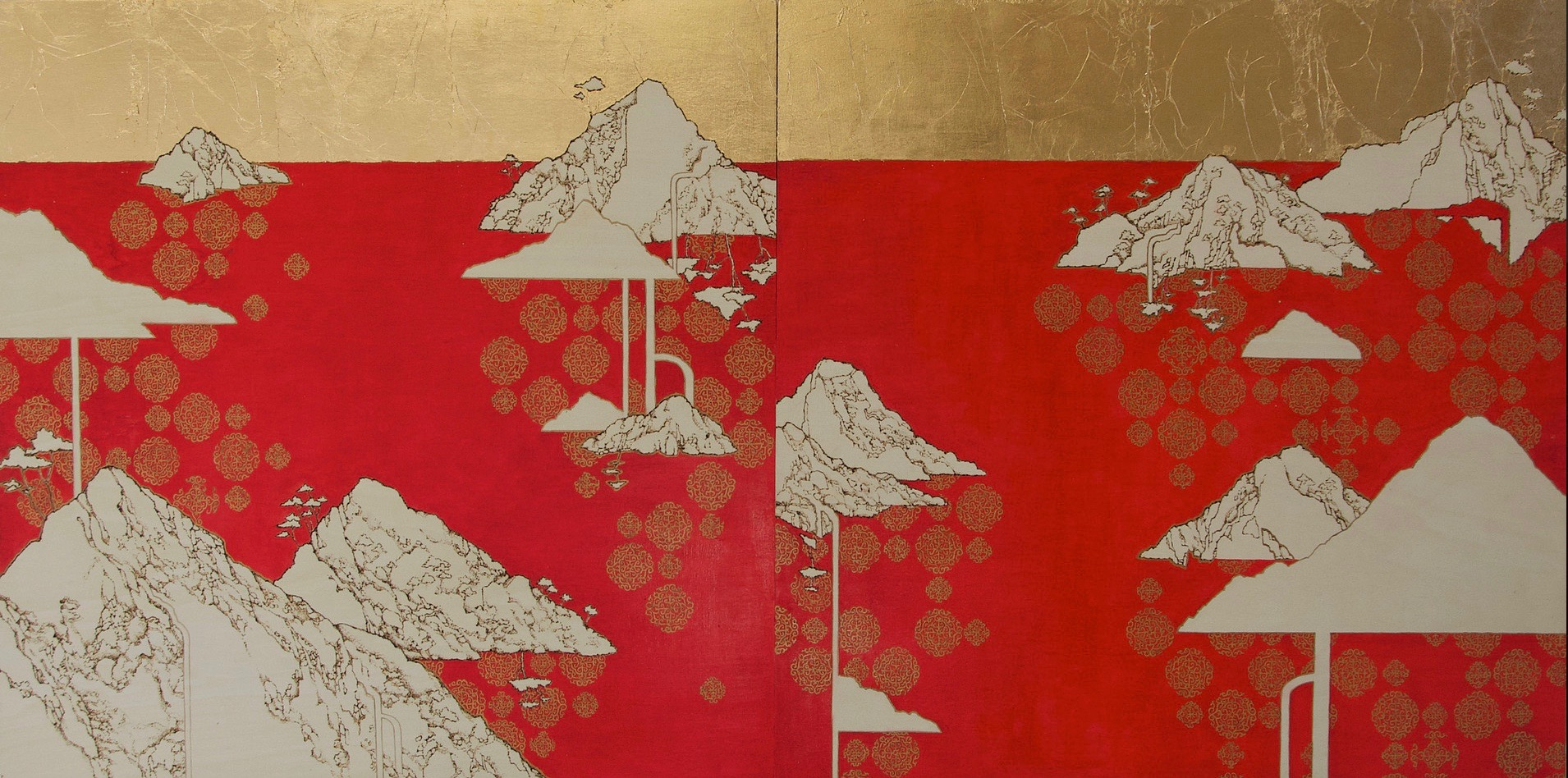 gold leaf pyography mixed media