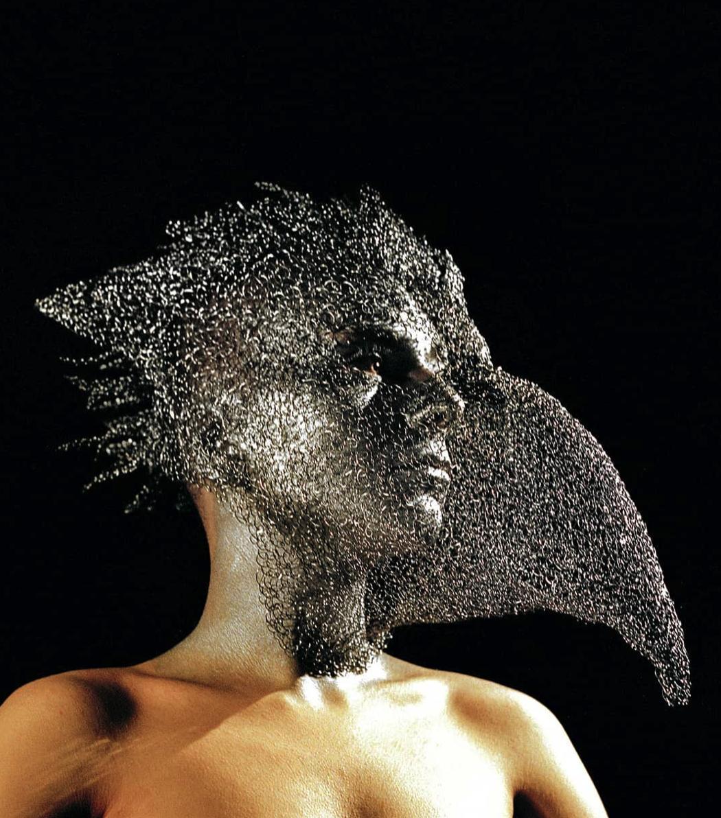 Venetian mask wire sculpture