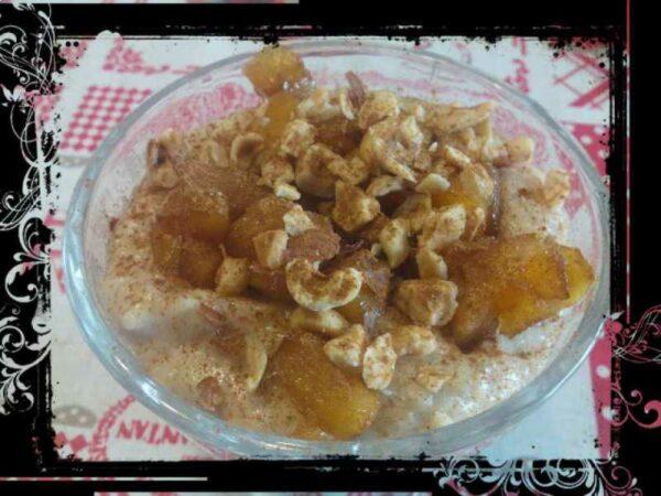 Gachas de avena con manzana caramelizada