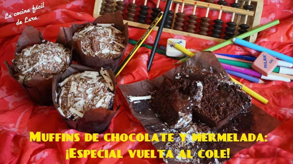 Muffins de chocolate y mermelada