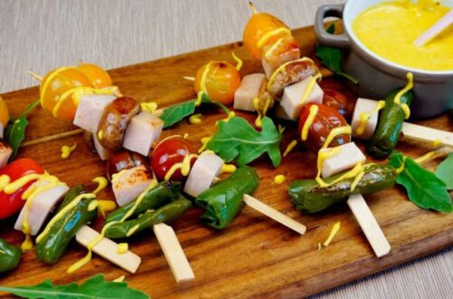 brochetas de pavo al curry