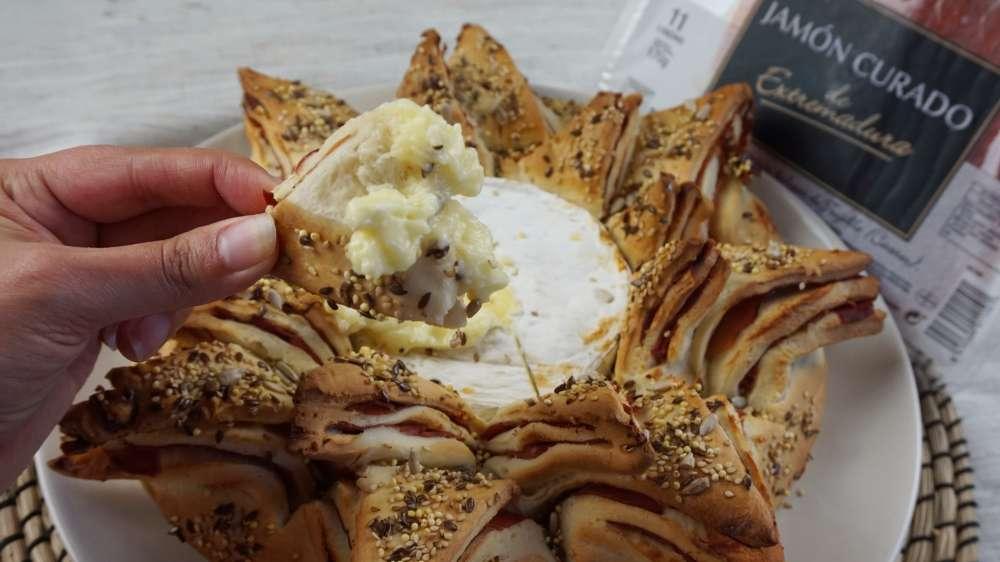 pan estrella con jamón y queso