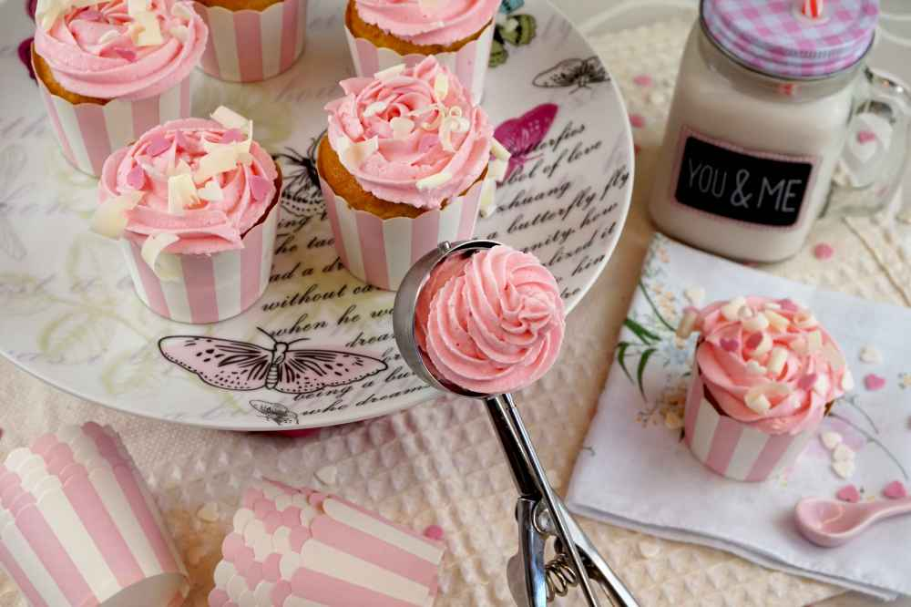 cupcakes sabor helado de fresa