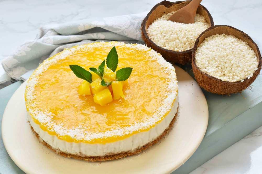 arta de arroz con leche de coco y mango sin horno