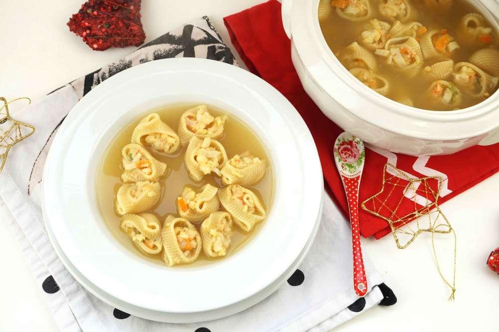 sopa rellena de marisco para navidad
