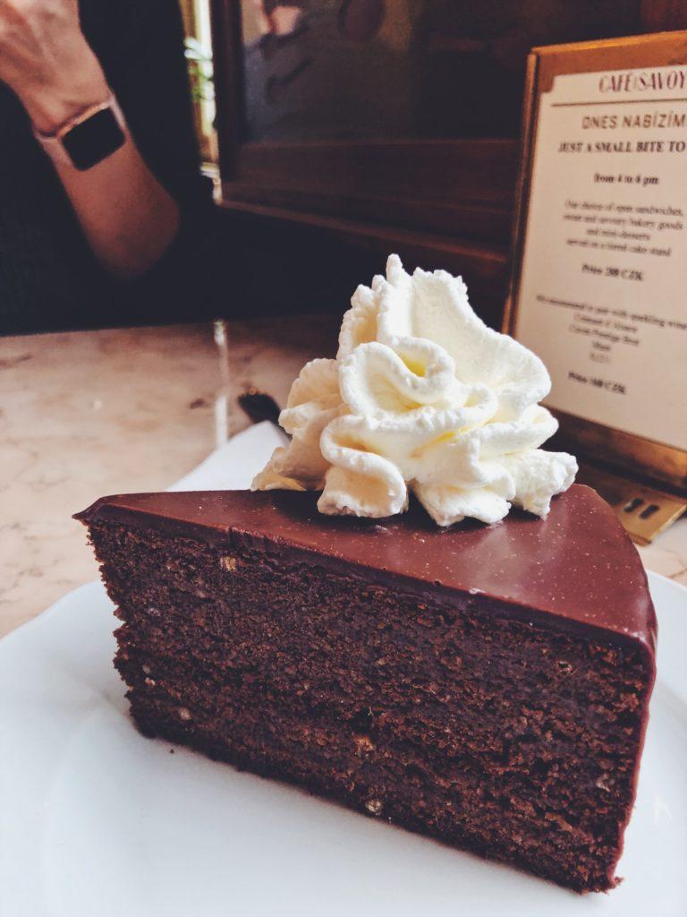 Sacher torte at Cafe Savoy