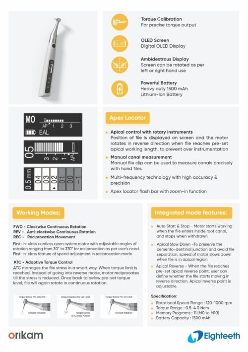 E-CONNECT S | Cordless Endomotor | Apex Locator | Orikam