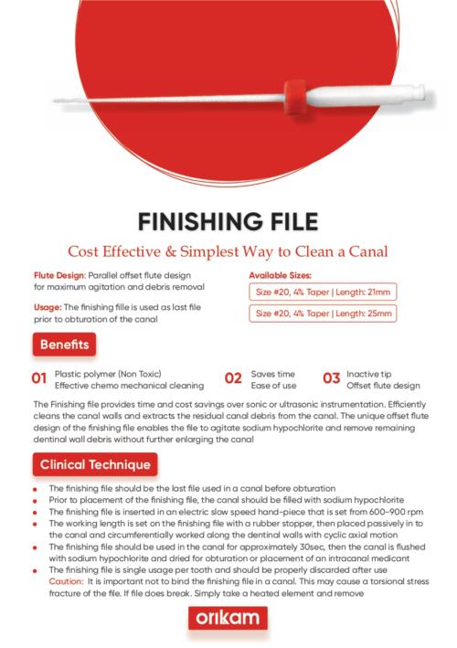 Finishing File   Designed for Maximum Agitation Debris Removal   Orikam