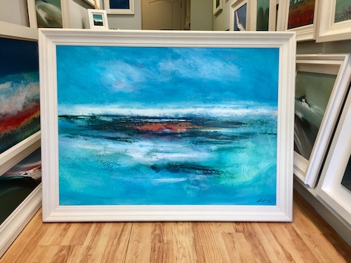 Framing style: All paintings include a professional white vellum finished frame
