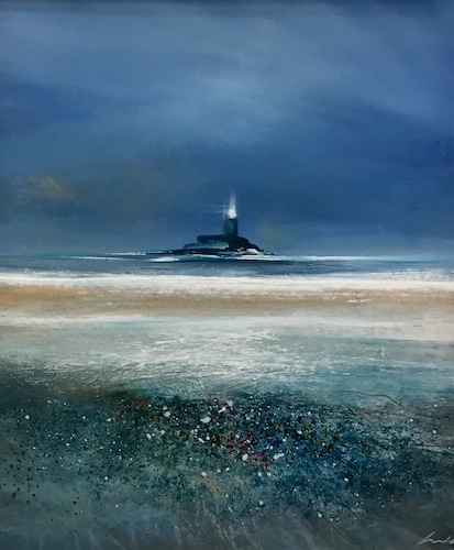 SOLD Lighthouse at Fenit   Acrylic on Panel   Size: 20 x 17ins   €1750