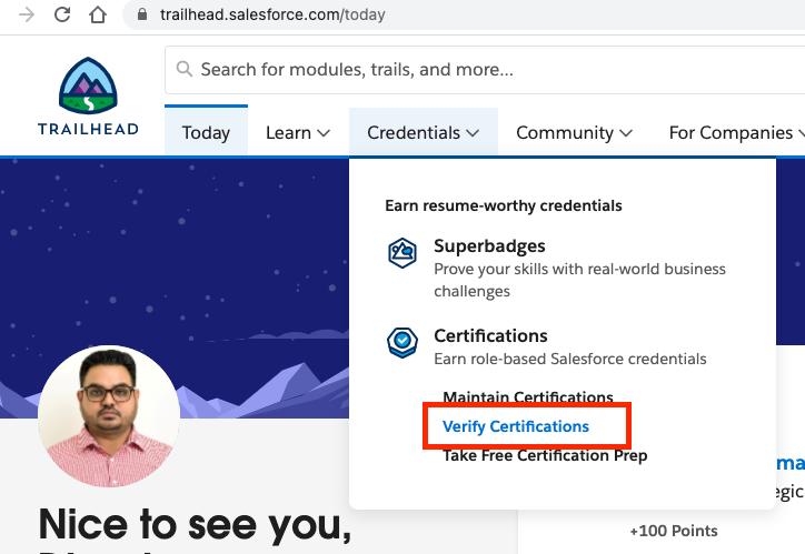 Salesforce Certification Verification Step 1