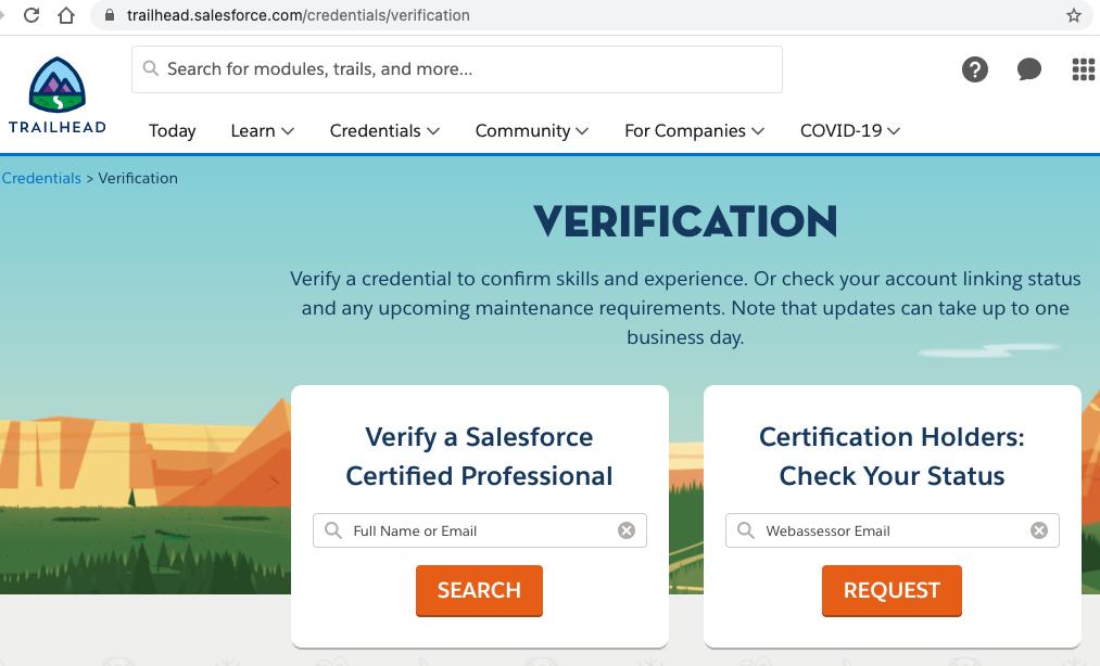 Salesforce Certification Verification Step 2