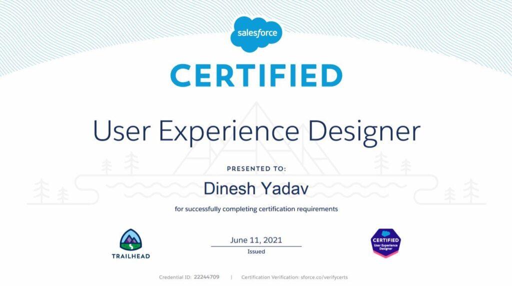 Salesforce UX Designer Certificate