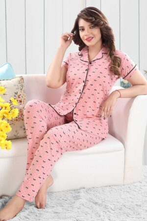 Baby-Pink-with-black-bow-PJ-set