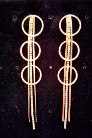 Earring Round Golden Tassel