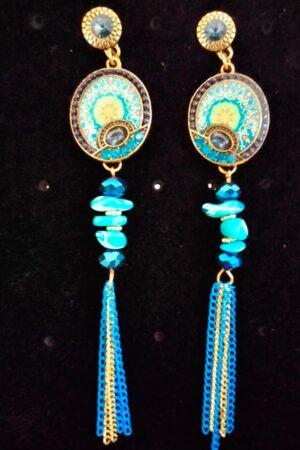 Earrings Tassel statement Blue Hanging