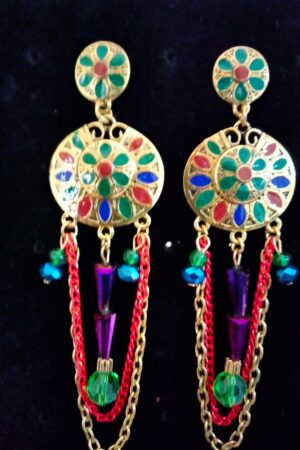 Earrings Tassel statement Multi colour Hanging