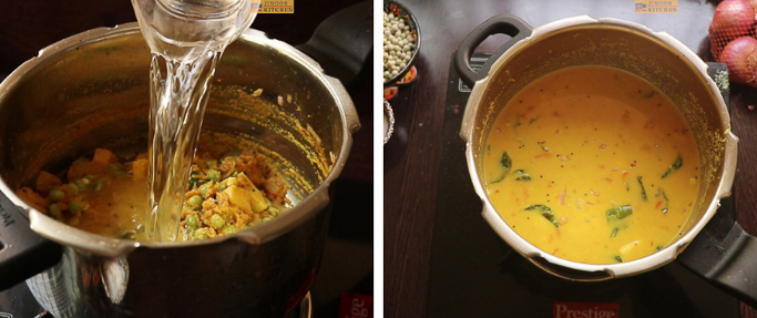 add water - peas potato masala