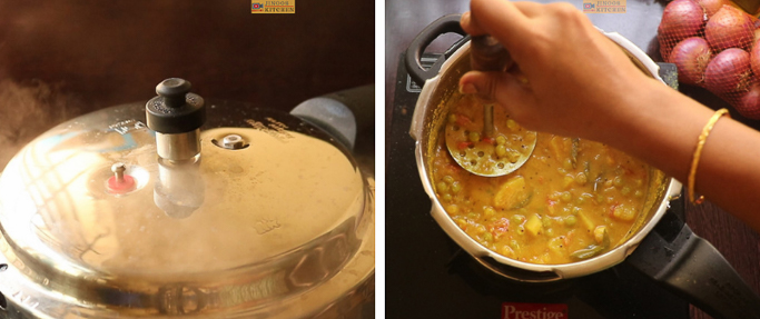 pressure cook and mash - peas potato masala