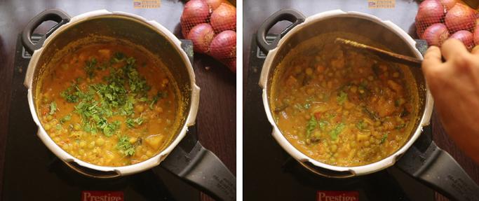 add coriander leaves - peas potato masala