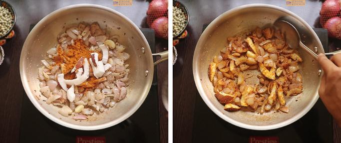 Add spices and coconut - peas potato masala